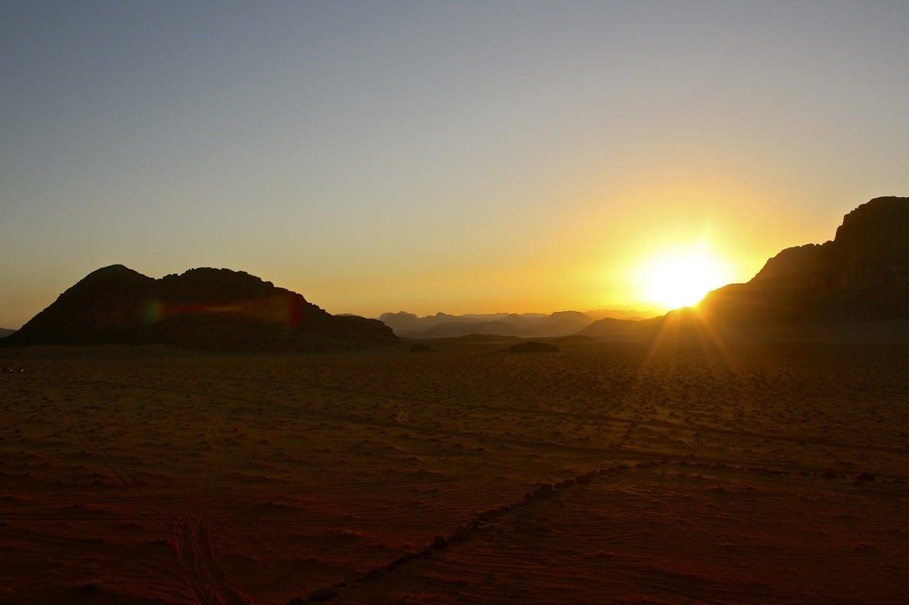 camping in wadi rum sunset