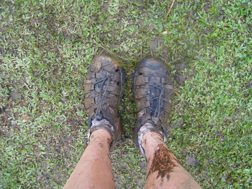 Muddy sandals after climbing Nevis Peak