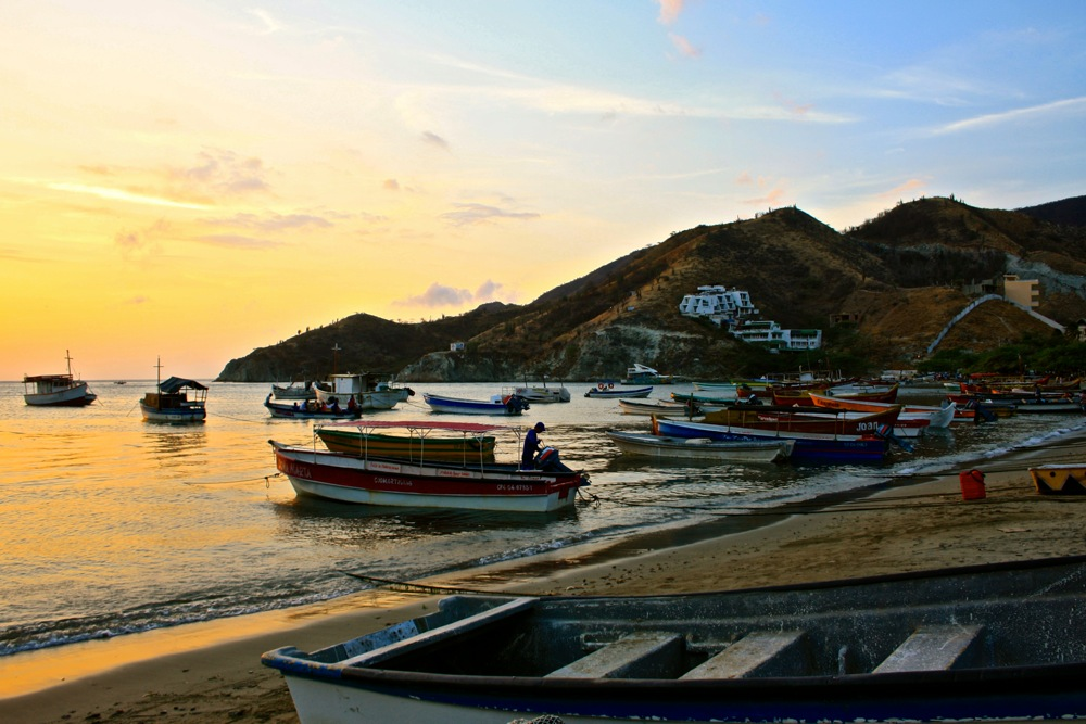 Taganga on the Caribbean Sea during sunset