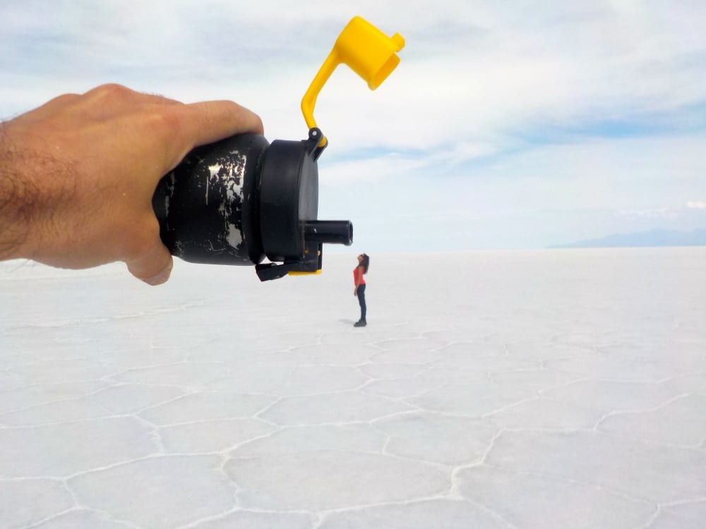 playing with perspective on salar de uyuni