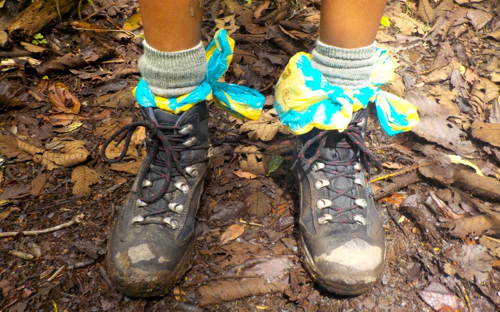 Kia's boots after a drenching on the Salkantay Trek to Machu Picchu