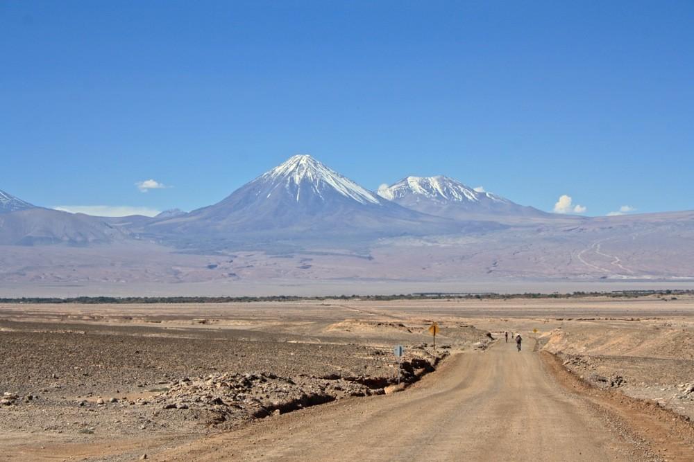 atacama desert with mountain in background