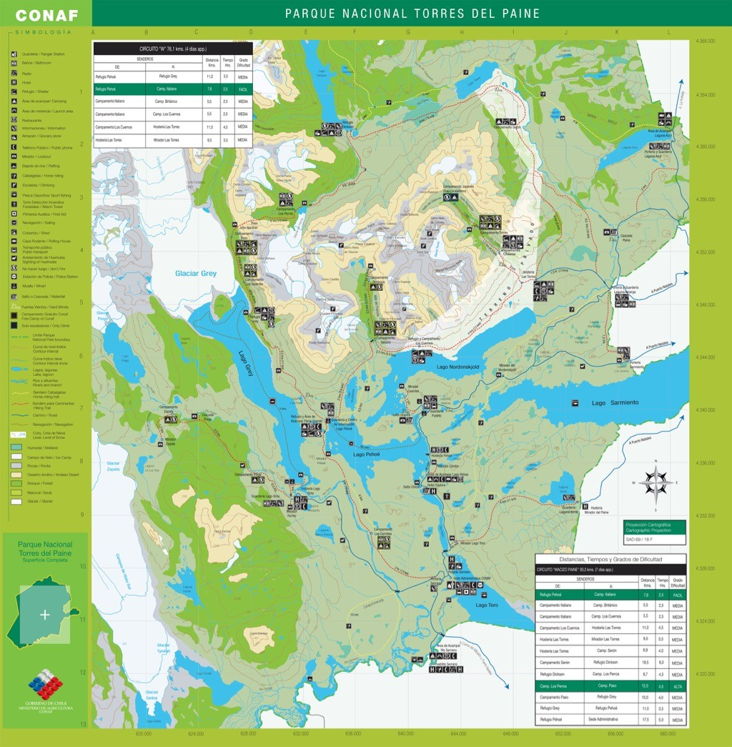 torres del paine hiking trails map