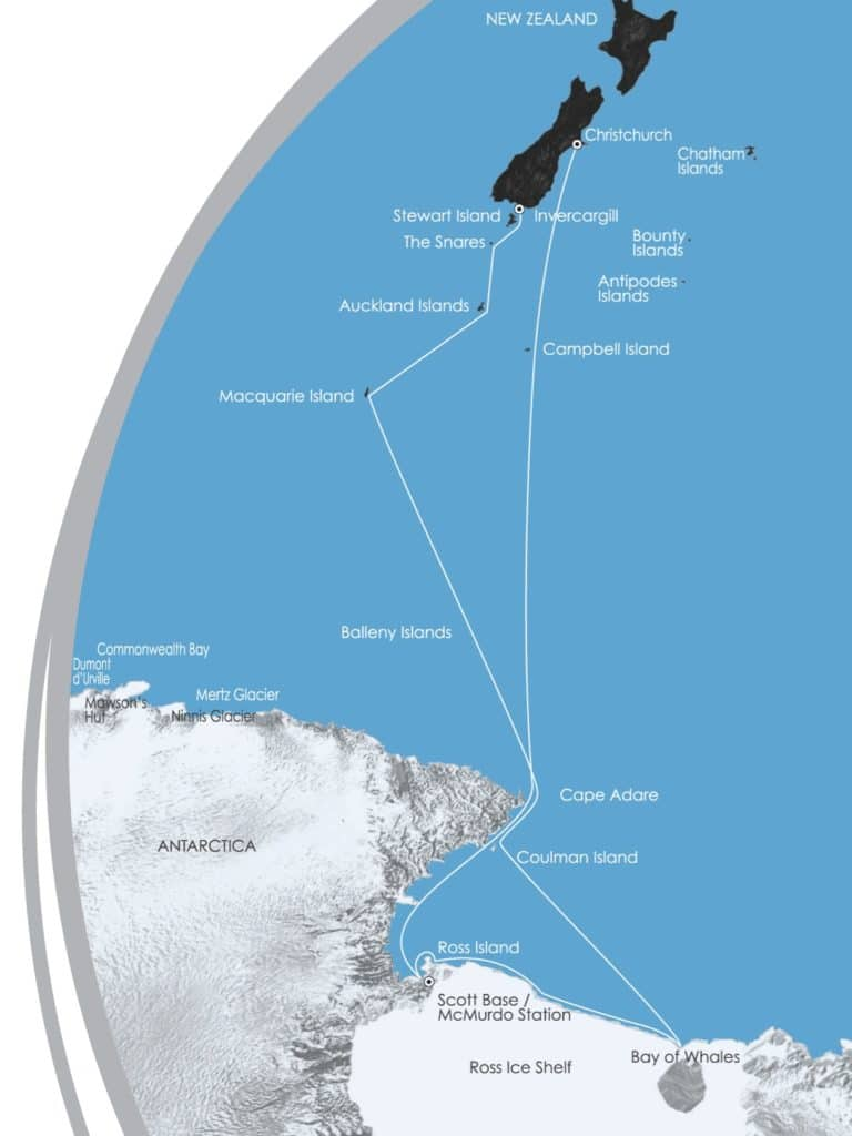 Map of an adventure cruise to Antarctica