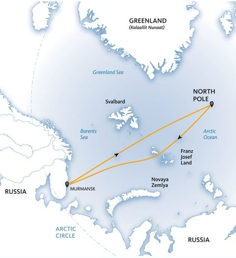 Map of an adventure cruise to the North Pole