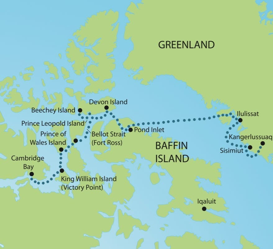 Map of an adventure cruise to Greenland