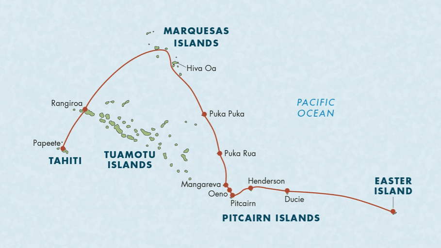 Map of Pitcairn cruise