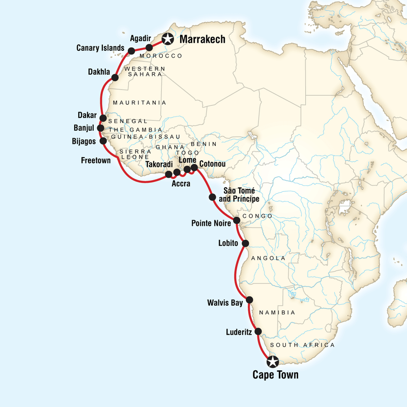 Map of West Africa cruise