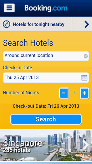 Useful travel apps: Booking screenshot