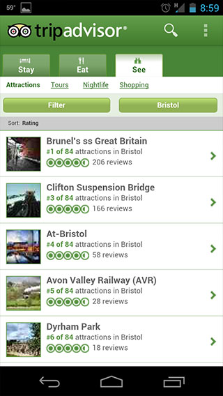 Useful travel apps: TripAdvisor screenshot
