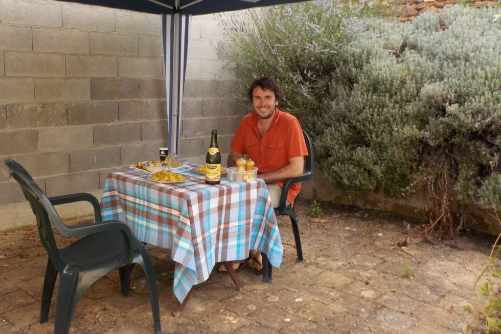 Al fresco dining in our French village