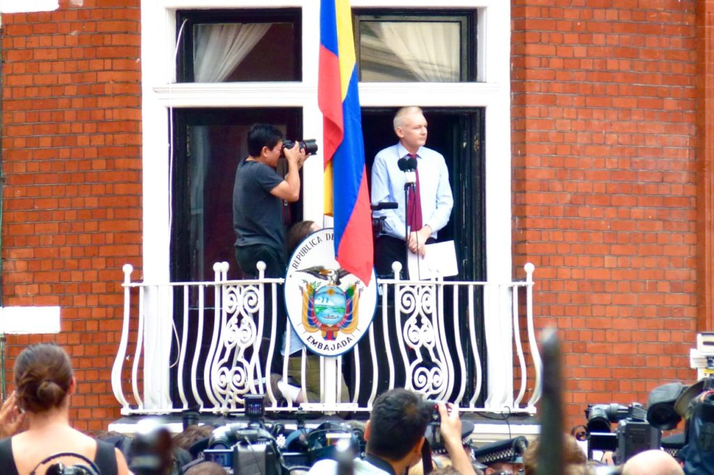 Assange at the Embassy of Ecuador in London