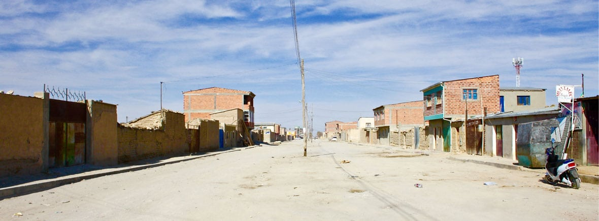 a street in Uyuni Bolivia one of our charmless South American towns