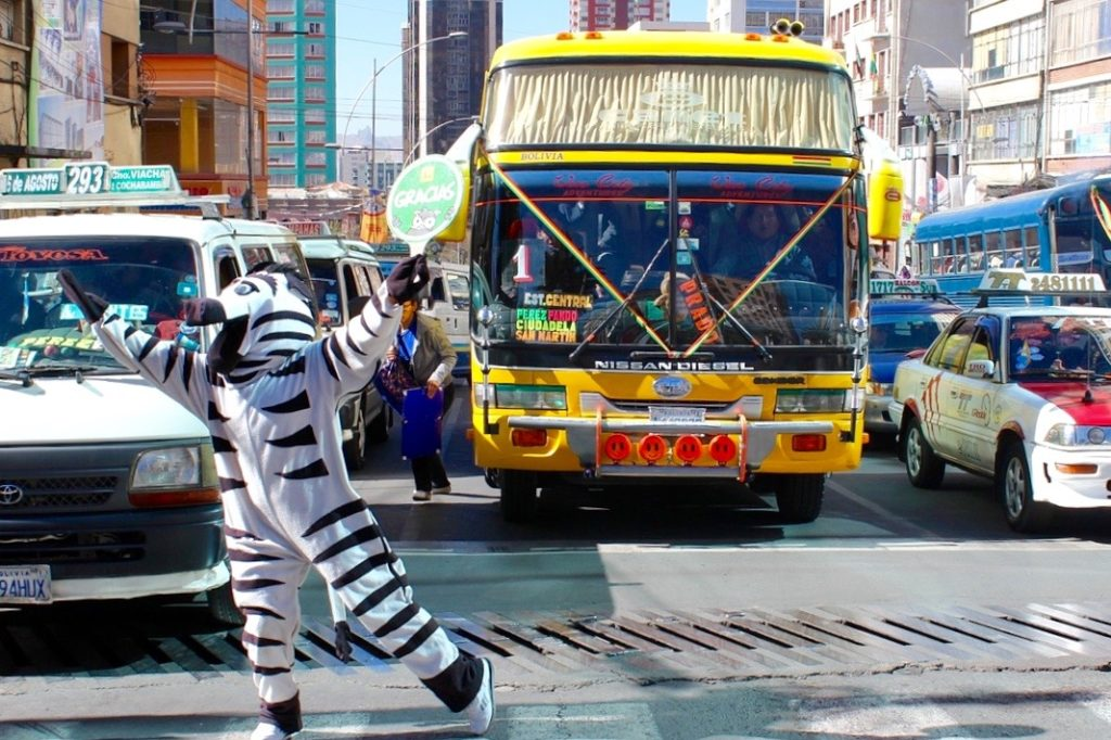 Zebras (or rather people dressed as zebras) wander the streets of La Paz