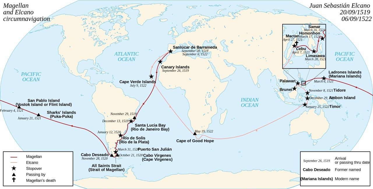 Ferdinand Magellan route - map