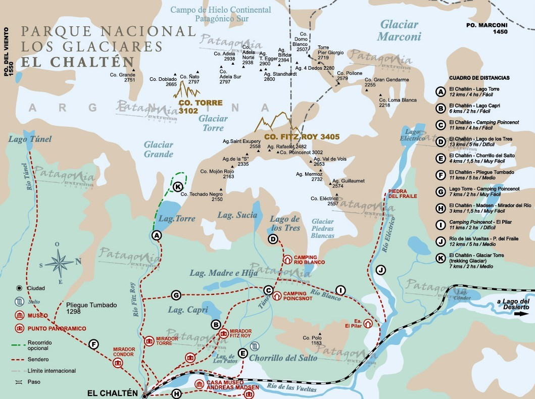El Chaltén hiking trails map