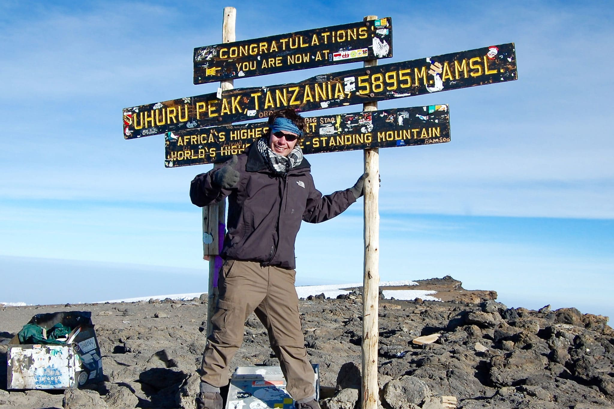 Peter on the summit of Mount Kilimanjaro in Tanzania
