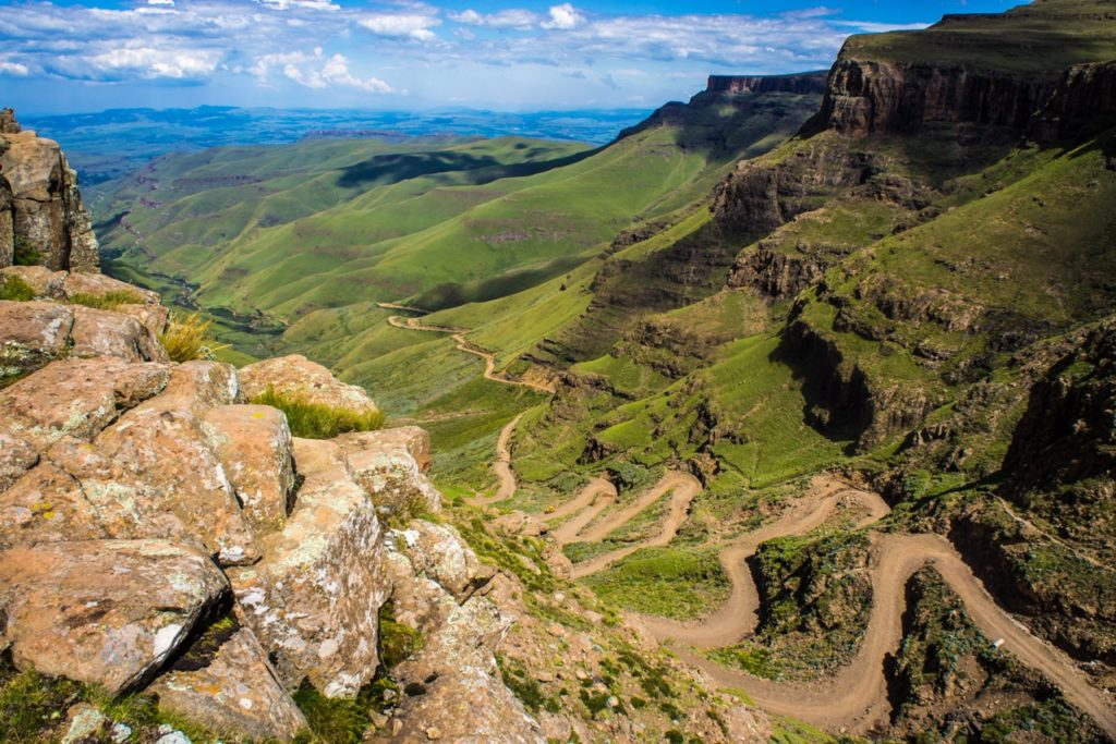 The hairpin bends of Sani Pass in Lesotho