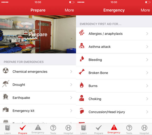 Hiking First Aid Kit: Red Cross App