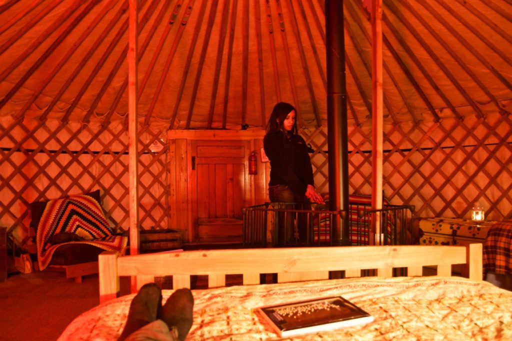 glamping in Devon yurt