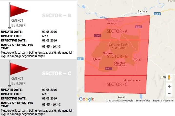 Capadoccia balloon ride map