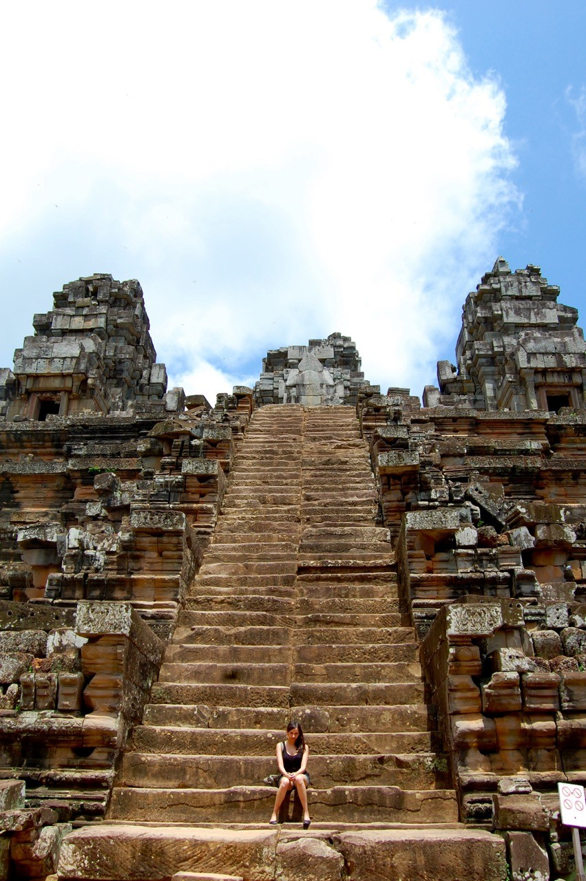 best time to visit Angkor Wat: Kia on the stairs