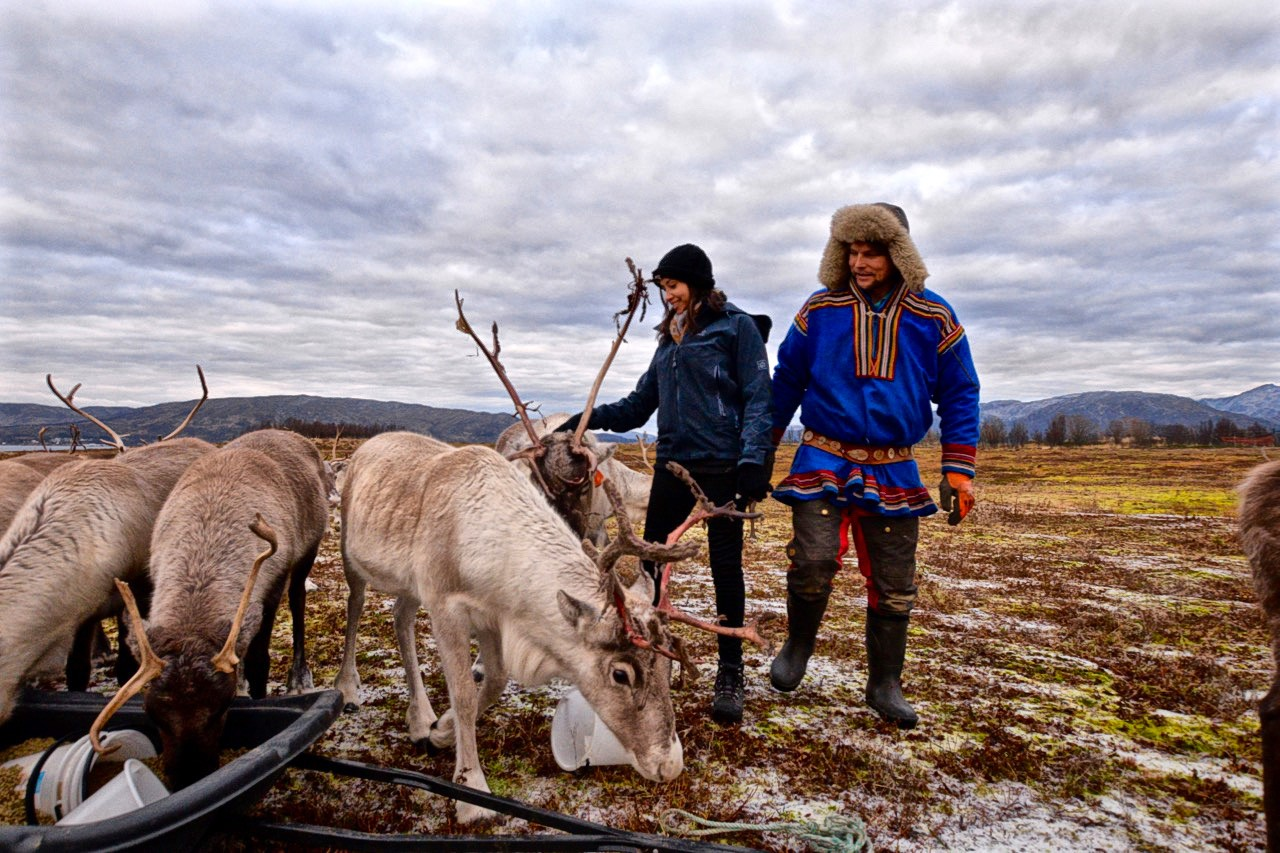 Kia and Johan-Issak feeding Arctic reindeer in Tromso