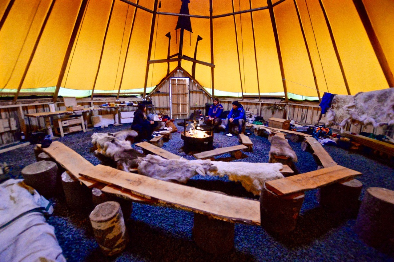 Inside the lavvu after feeding Arctic reindeer in Tromso