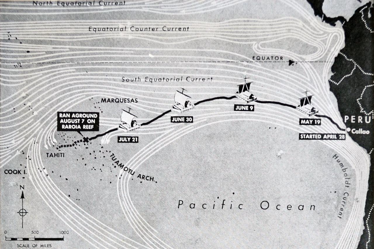 The route of the Kon Tiki