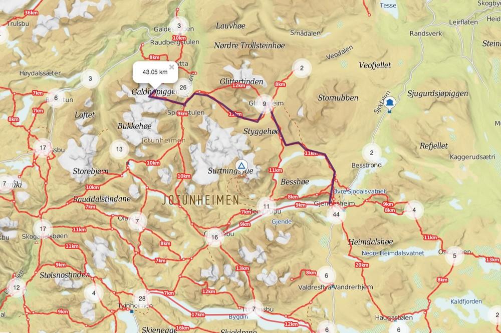 Climbing-Galdhøpiggen-in-Jotunheimen-National-Park-Norway-route-map