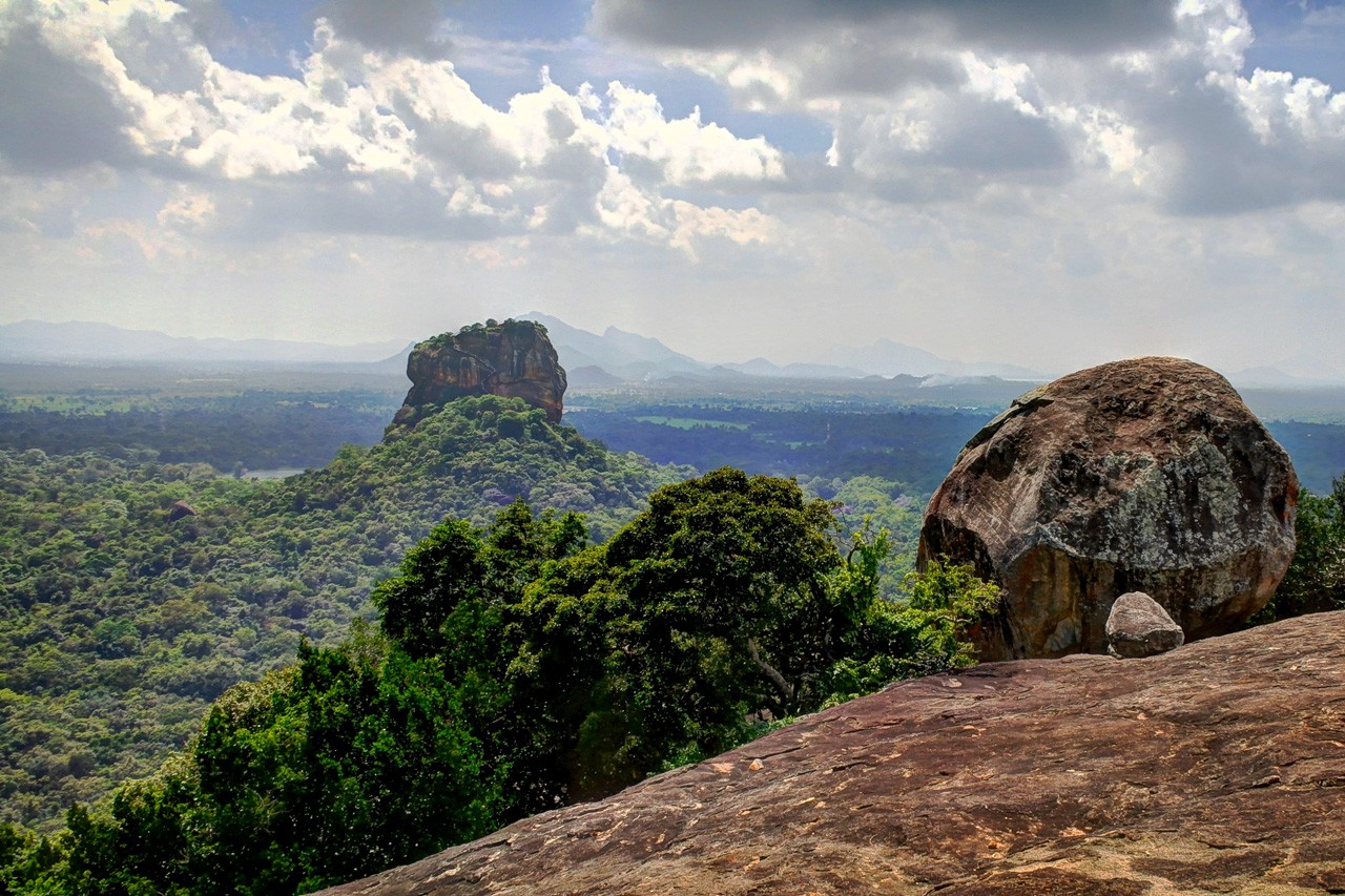 The view of Sigiriya Rock Fortress from Pidurangala