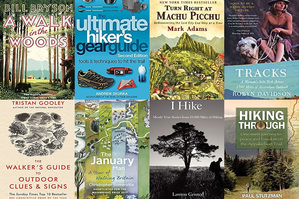 A collage of book covers about hiking