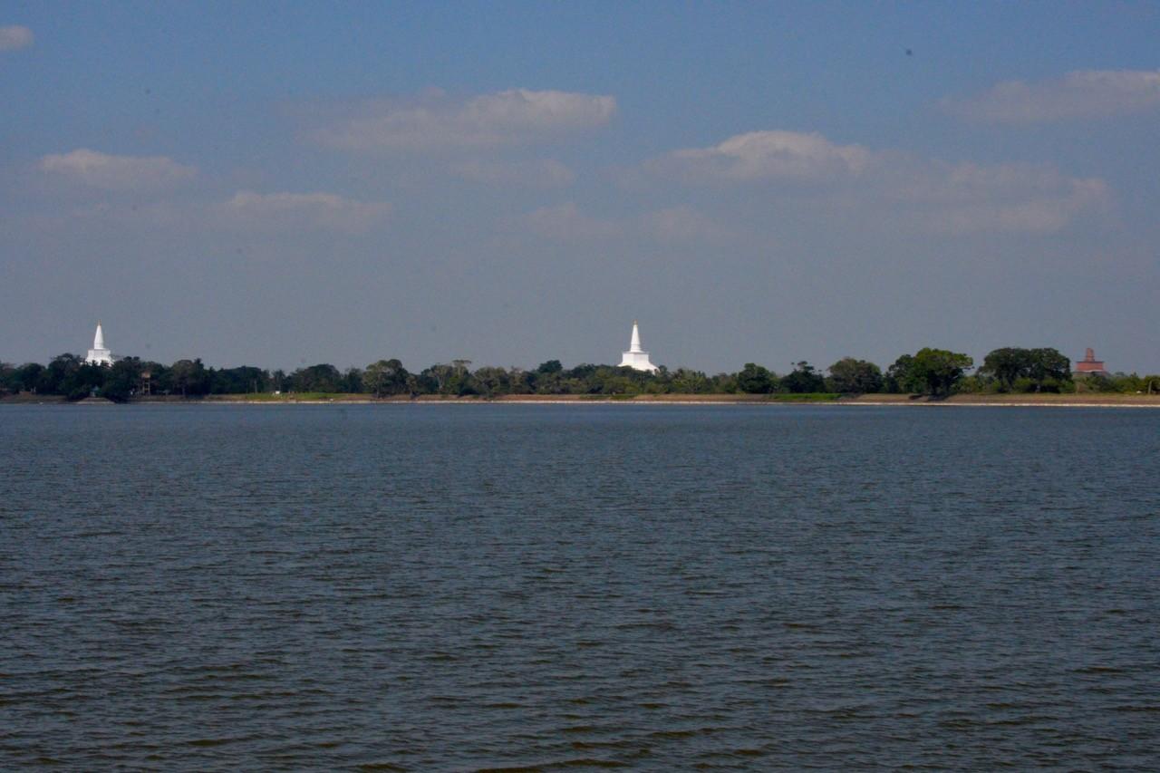 Tissa Weva Lake fringed by dagobas