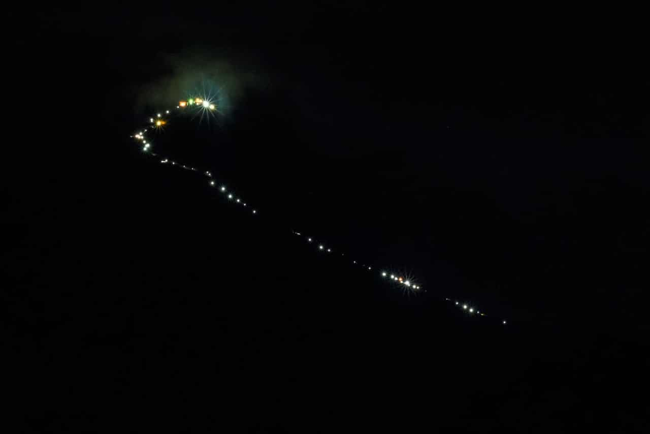 Path lit up for climbing Adam's Peak