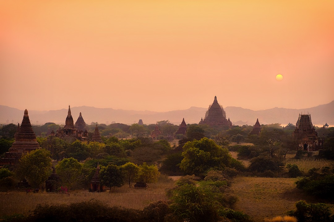 cycling tour of Myanmar Bagan sunset