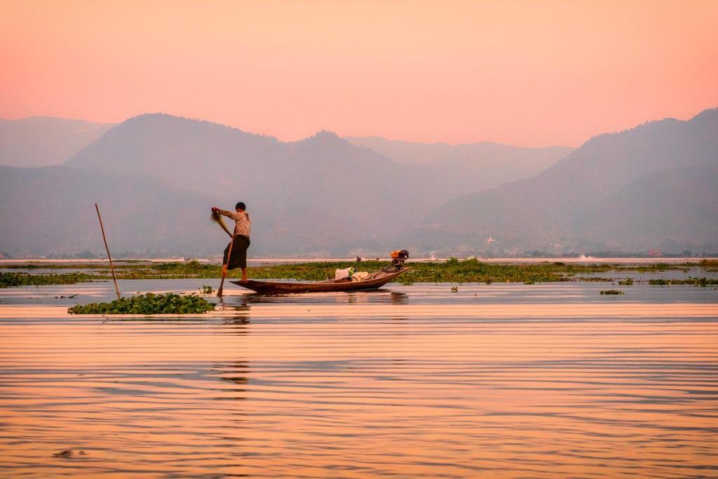 One of Inle Lake's famous 'leg-rowing' fishermen