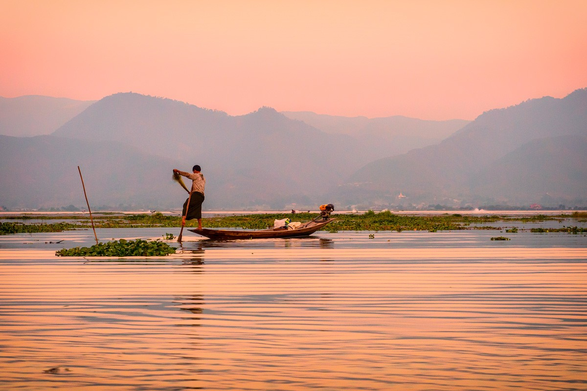 One of Inle Lake's famous 'leg-rowing' fishermen