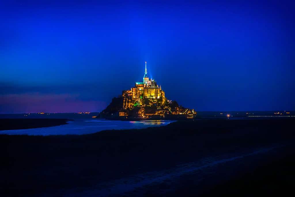 Mont Saint-Michel illuminated at night