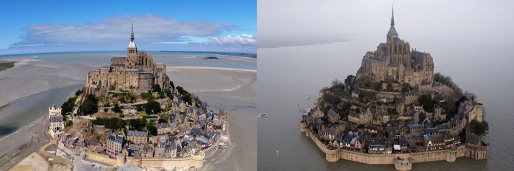 Mont Saint-Michel at normal tide versus supertide
