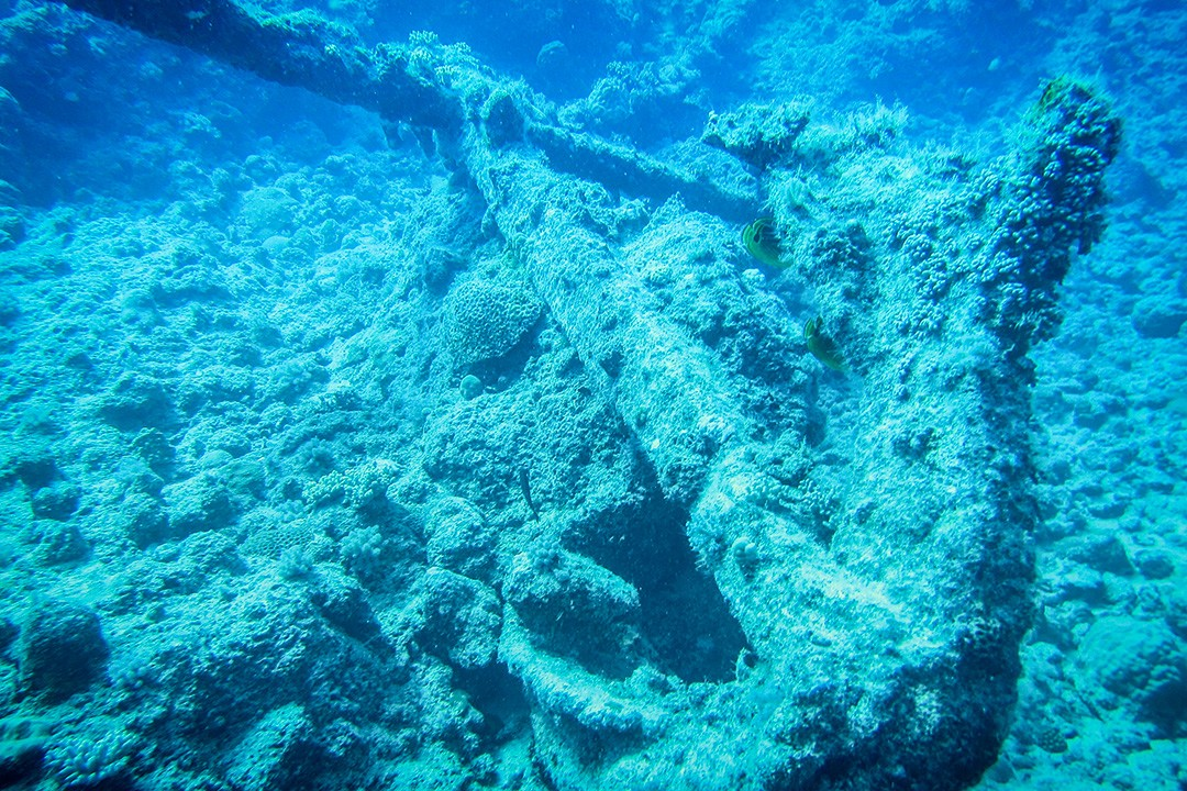 Anchor seen while diving at Trou aux Biches