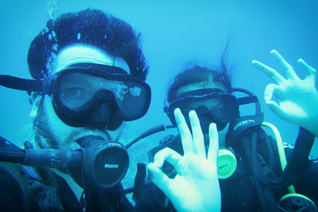 selfie while Diving at Trou aux Biches, Mauritius