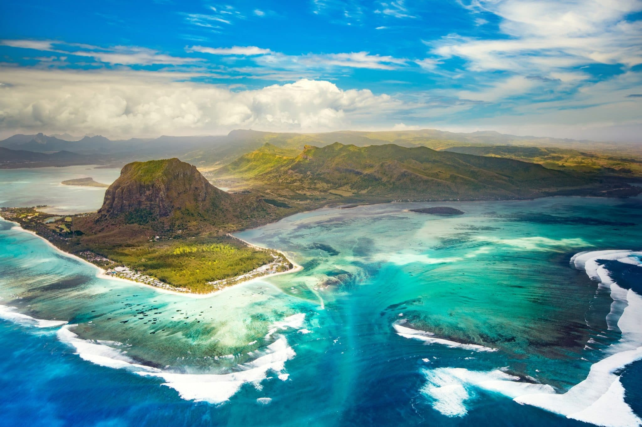 Aerial view of Le Morne Brabant