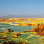 Salt and volcanic minerals create vivid colours at Dallol
