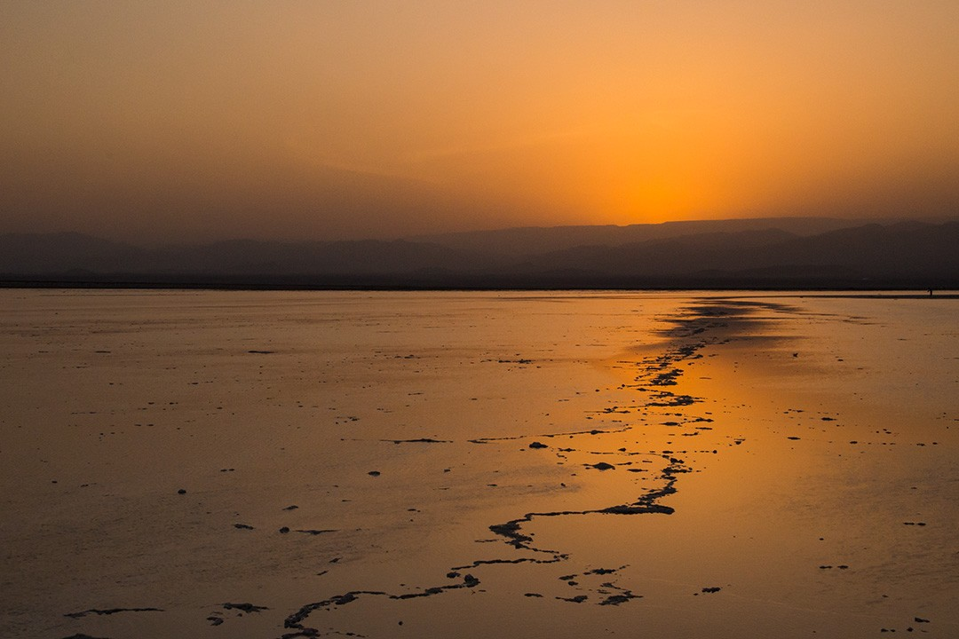 Sunset over the salt flats of Lake Asale
