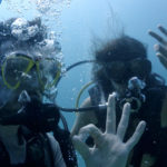 We get comfortable in the water while diving in Djibouti