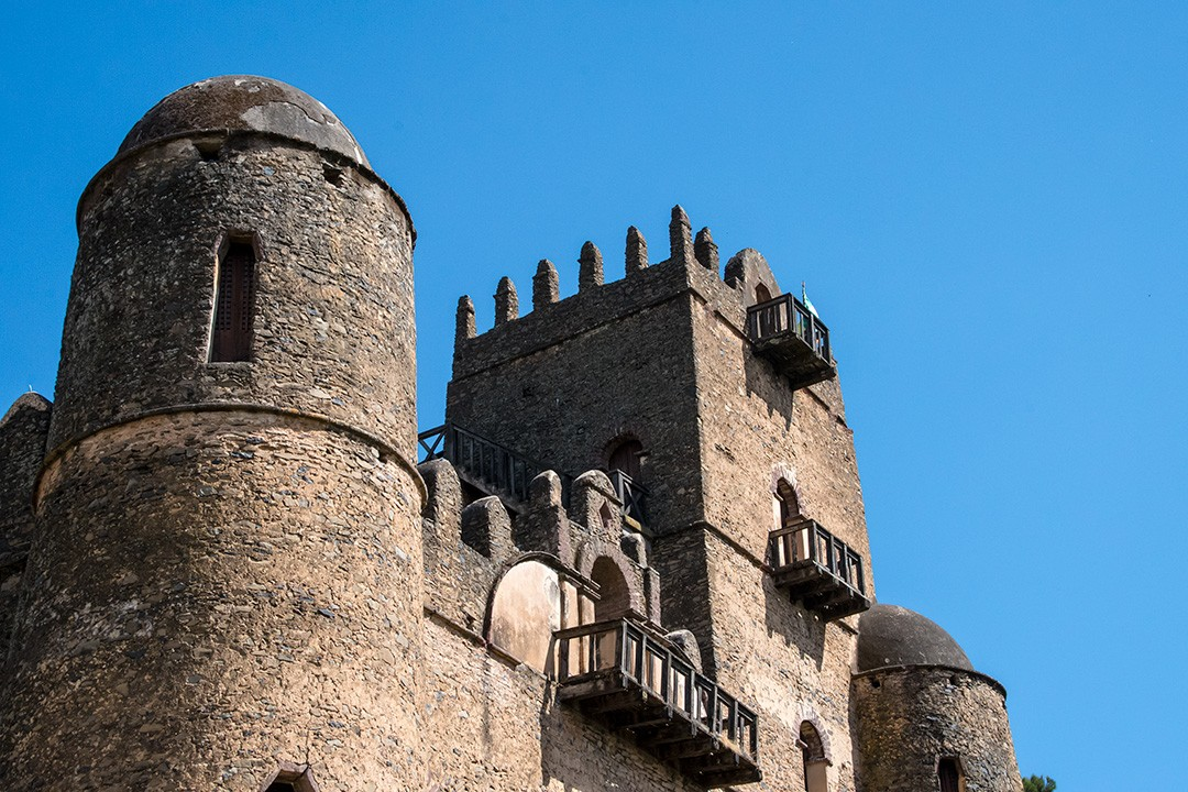 The battlemented parapet of Gondar castle