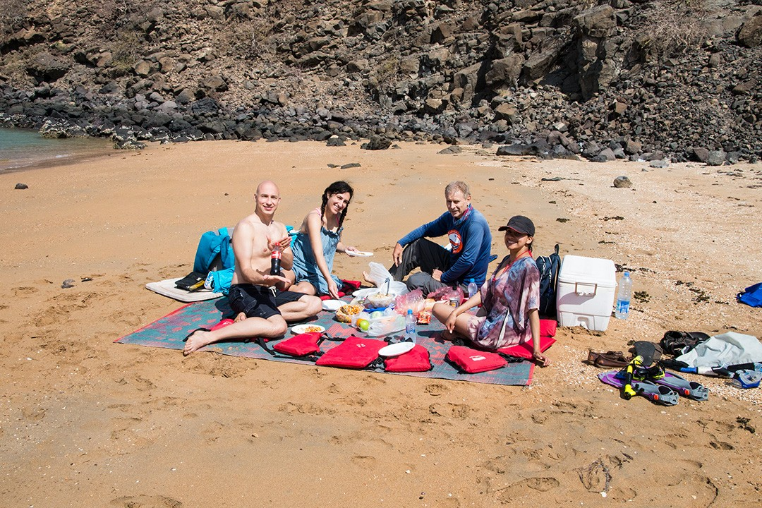 A picnic lunch on a secluded beach