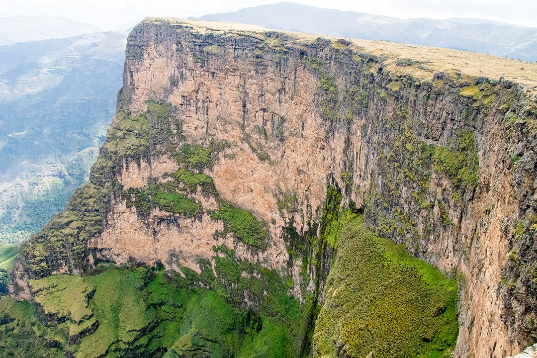 Trekking the simien mountains cliff face