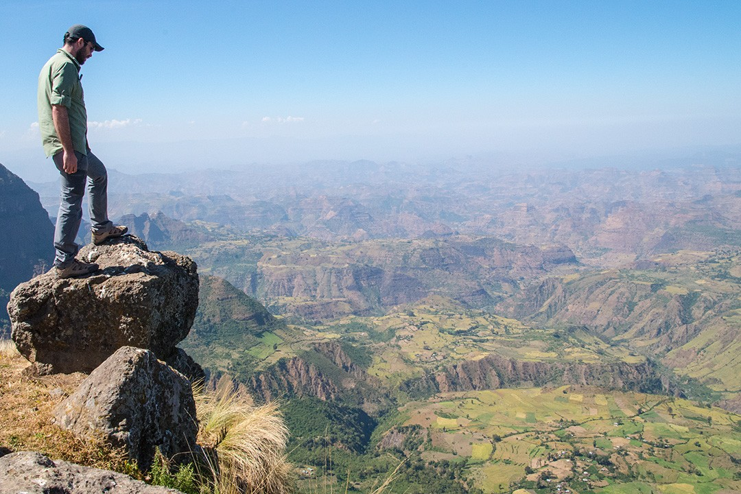 Peter at the first viewpoint on our Simien Mountains National Park trek