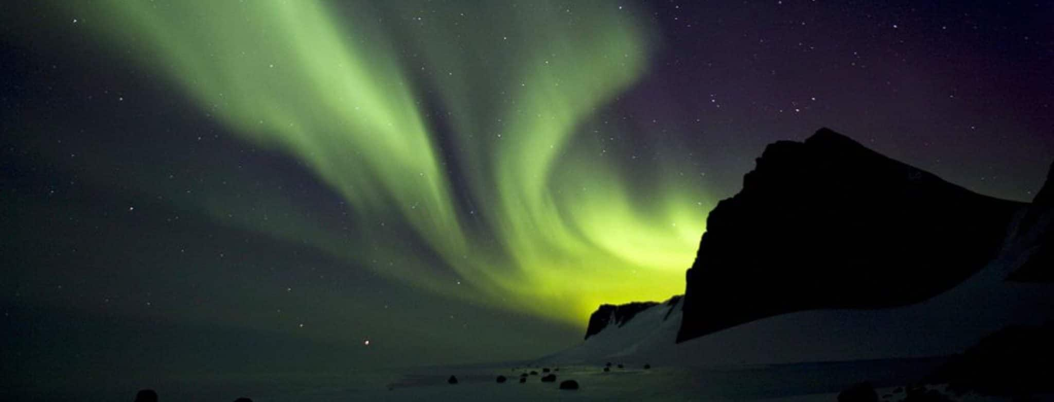 Southern lights in Antarctica